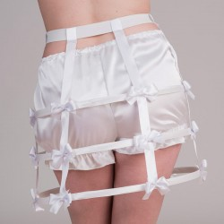 Short white crinoline with bows - back