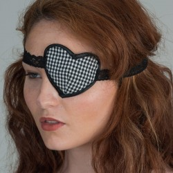 Black gingham heartshape eye patch - side