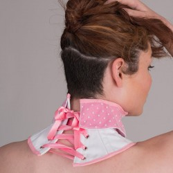 Pink neck corset with baby collar - back