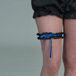Black lace garter with blue ribbon and crown - front