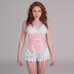 Pink underbust corset with heart shape - front