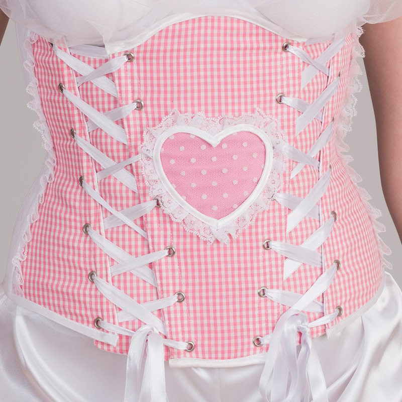 Pink underbust corset with heart shape