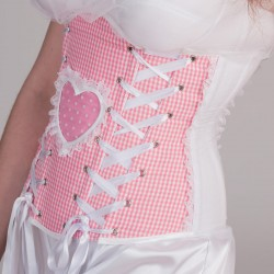 Pink underbust corset with heart shape - side detail
