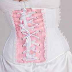 Pink underbust corset with heart shape - back detail