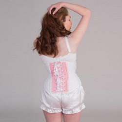 Pink underbust corset with heart shape - back
