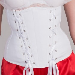 White basic underbust corset with lacings