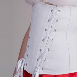 White basic underbust corset with lacings - side detail