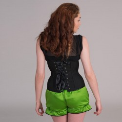Black basic underbust corset with lacings - back