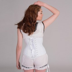 White basic underbust corset with busk - back