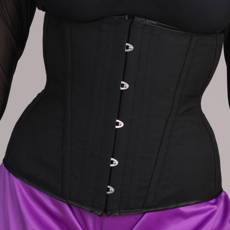 Black basic underbust corset with busk