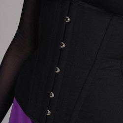 Black basic underbust corset with busk - side detail