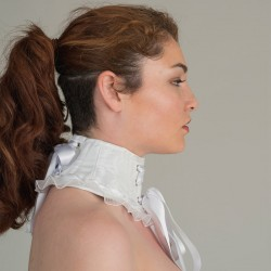 White jacquard neck corset - side