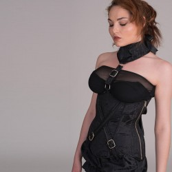 Black jacquard underbust corset with collar and buckles - side