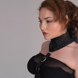 Black jacquard underbust corset with collar and buckles - side detail