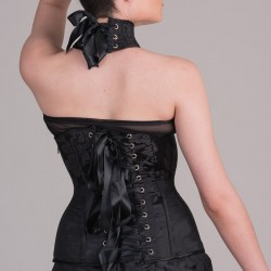Black jacquard underbust corset with collar and buckles - back detail