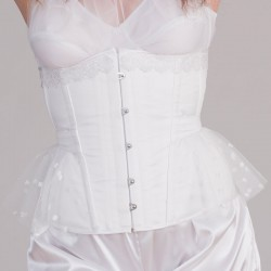 White underbust corset with tulle and guipure
