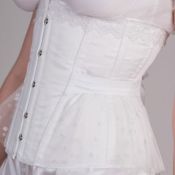 White underbust corset with tulle and guipure - side detail