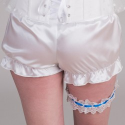 White guipure garter with blue ribbon, key and padlock  - back