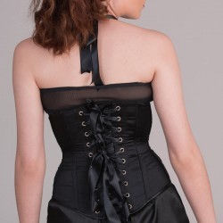 Black satin underbust corset with chains - back detail
