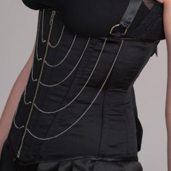 Black satin underbust corset with chains - side detail