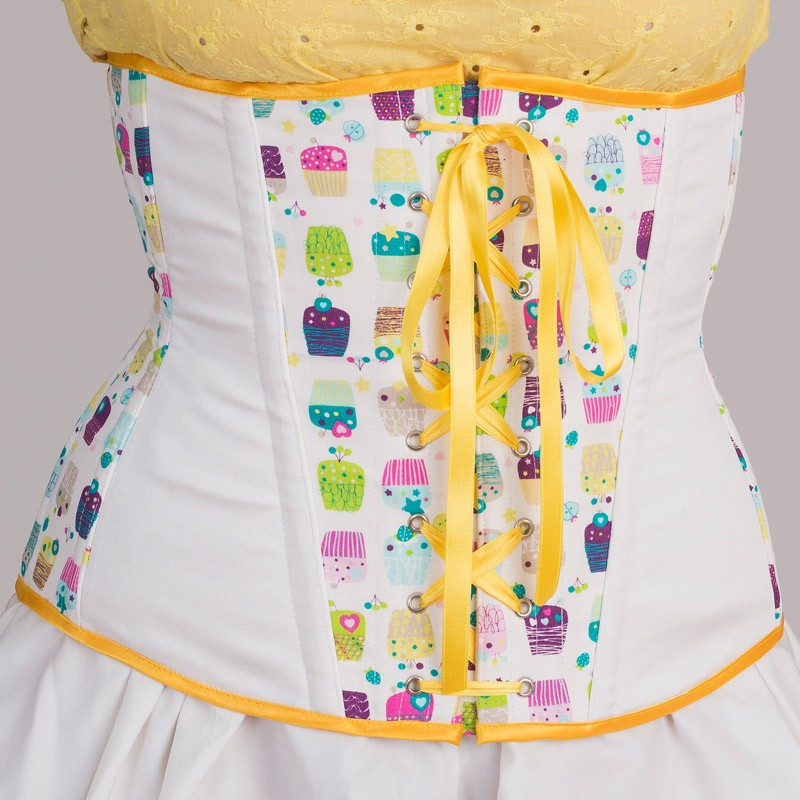 Cupcakes print underbust corset with lacing