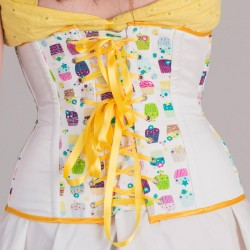 Cupcakes print underbust corset with lacing - back detail