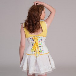 Cupcakes print underbust corset with lacing - back