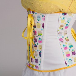 Cupcakes print underbust corset with lacing - side detail