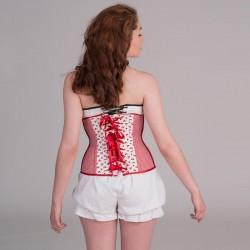 Cherries print underbust corset with lacing - back