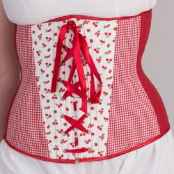 Cherries print underbust corset with lacing