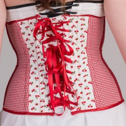 Cherries print underbust corset with lacing - back detail