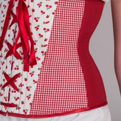 Cherries print underbust corset with lacing - side detail