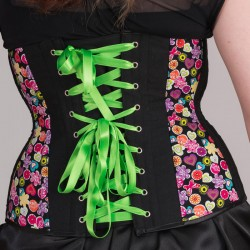 Multi-color print underbust corset with lacing - back detail