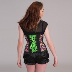 Multi-color print underbust corset with lacing - back