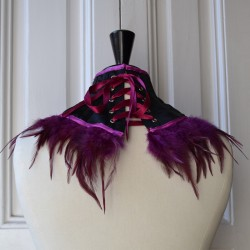 Black satin neck corset with raspberry feathers - back