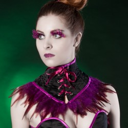 Black satin neck corset with raspberry feathers - look