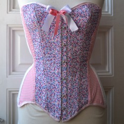 Pink overbust corset with floral print and gingham