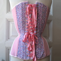 Pink overbust corset with floral print and gingham - back