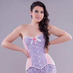 Pink overbust corset with floral print and gingham - look