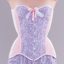 Pink overbust corset with floral print and gingham - look front