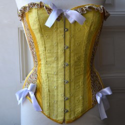 Floral yellow overbust corset with print and embroidery