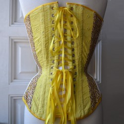 Floral yellow overbust corset with print and embroidery - back