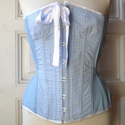Blue overbust corset with gingham and bow