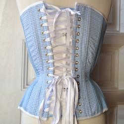 Blue overbust corset with gingham and bow - back