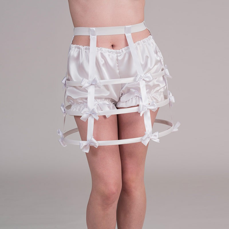 Short white crinoline with bows