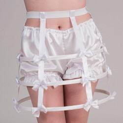 Short white crinoline with bows - front