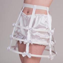 Short white crinoline with bows - side